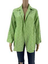 Shamask Womens Open Jacket Size 2 L/XL Green Floral Silk Tunic Langelook Duster
