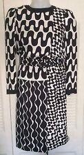 New listing Louis Feraud Vtg 1980s Black/White Geometric Print Silk Long Sleeve Dress Sz 8