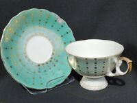 VTG Lusterware Teacup Saucer Set Green Gold Stars No Markings  Tea Cup Set