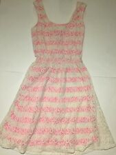 XS Pink And White Striped Dress With Floral Lace Overlay