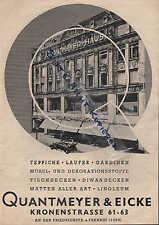 BERLIN, Werbung 1937, Quantmeyer & Eicke, Kaufhaus für Teppiche Läufer Gardinen