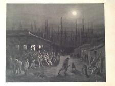 Londres, Raro Original Antigua Gustave Dore de impresión de 1872, los muelles-una escena nocturna