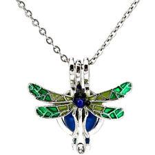 K1049 Enamel Dragonfly Beauty Animal Pearl Beads Cage Locket Pendant Necklace