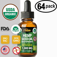 Mint Hemp Oil Drops for Pain Relief, Stress, Sleep (PURE & ORGANIC) - 64 PACK