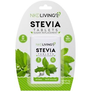 200 Pure Stevia tablets by NKD Living * 1 x 200 tablets *