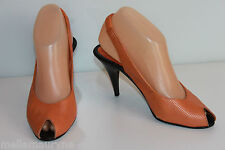 VINTAGE Escarpins CHARLES JOURDAN Tout Cuir Orange T 36 BE