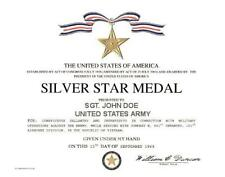 """US SILVER STAR MEDAL REPLACEMENT CERTIFICATE ON 24 LB. PARCHMENT PAPER  8"""" X 10"""""""