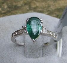 1.12 cts Zambian Emerald Solitaire 18k White Gold Size 7 Ring w/ Diamond Accents