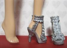 Barbie Doll Model Muse SILVER Ruffle open Toe High HeelS ShoeS Masquerade Mask