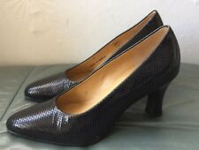 Ladies Black Patent Leather Snakeskin Effect New Court Shoes Size 4 From Clarks