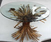 1970′ Guéridon Ou Table Basse Gerbe De Blé DLG YSL Métal Doré 74 x 48 cm