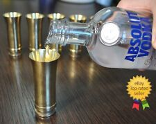 WWII Set Shot Glasses 6 Brass German barware vintage glass military art WW2 army