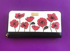 Kate Spade Ooh La La POPPY Neda Zip Around Leather Wallet BLACK/RED/CREAM NWT
