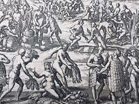 Indiani Di America 1655 Colonizzazione Spagnolo Gottfried Merian Estremamente