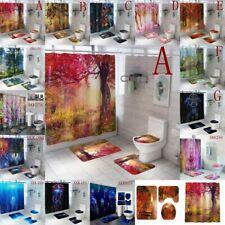 Hippie Art Waterproof Bathroom Mat Tree Shower Curtain Floor Mat Set Home Decor