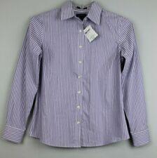LANDS END Womens Button Front Shirt Size 4 Deep Lilac Stripe NWT #15910