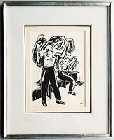 Frans Masereel 1889-1972: Arbeiter Umkleide Tuschezeichnung 1920er Jahre selten