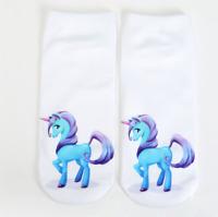 New Casual Ankle Socks 1Pair Fashion small blue unicorn print Polycotton 209