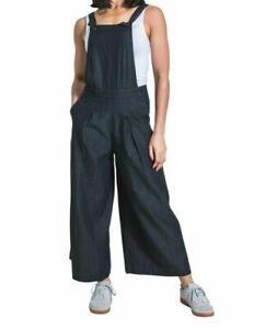 Ladies Culotte Dungarees - Black Wide Leg Bib Overalls