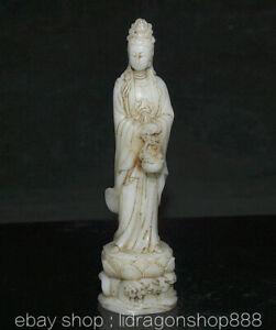"8"" Ancien Chine Blanc Jade Sculpture Dynastie Palais Guan yin Déesse Statue"