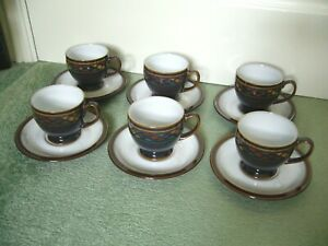 DENBY SHIRAZ SET OF 6 TEA CUPS & SAUCERS 2ND QUALITY VERY GOOD USED CONDITION*md