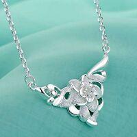 Joli, raffiné COLLIER en argent 925, chaîne, pendentif fleur, bijoux joaillerie