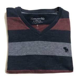 Abercrombie Kids Boy's Gray and Red Striped T Shirt Size S