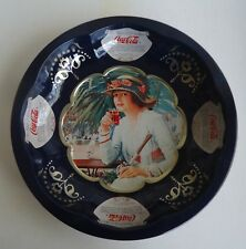 Lovely 1995 Coca Cola Round Metal Tray *Girl Enjoying a Coke Soft Drink *Blue