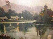 Antique impressionist landscape Loch Lomond painting listed artist Edward Howell