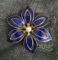 Vintage goldtone Blue Enamel faux pearl Flower Brooch Pin large statement piece