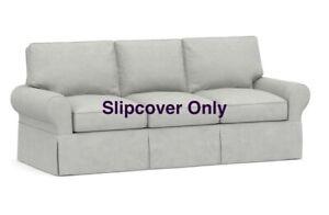 Pottery Barn Basic SLIPCOVER PB Comfort Roll Arm Sleeper Sofa Slub Ash Gray