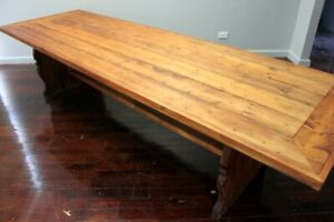 ANTIQUE REFECTORY WORK TABLE  INDUSTRIAL CIRCA 1900 BALTIC PINE 308 CMS LONG