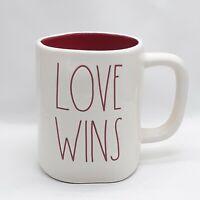 "Rae Dunn ""LOVE WINS"" White Mug Red Interior Artisan Collection by Magenta 202"
