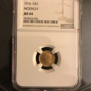 Gold MCKINLEY 1916 Commemorative $1 NGC MS64