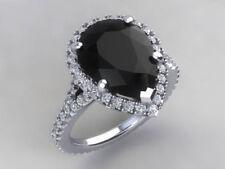 925 Silver Pear Shape Black Moissanite & White Stone Studded Wedding Women Ring