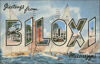Biloxi MS Large Letter Linen Postcard