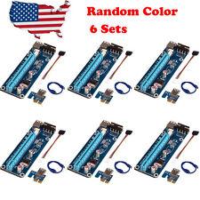 6 Sets PCI-E USB3.0 Express 1x-16x GPU Extender Riser Card Adapter Power Cable