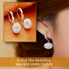 925 Sterling Silver Plated Classic Disco Ball Diamond Crystal Drop Earrings