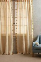 Anthropologie Yellow Pom Linen Tassel Striped Curtain Single Panel 50 X 108 NEW