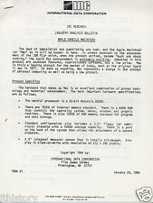 "VINTAGE (1984) REPORT: ""APPLE UNVEILS MACINTOSH""(IDC INDUSTRY ANALYSIS) Q"