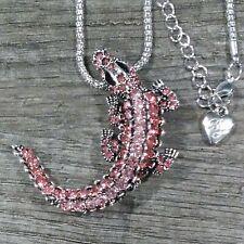 New listing Betsey Johnson Pink Alligator Gator Rhinestone Necklace/Brooch in Gift Box