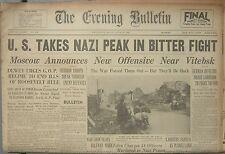6/23/1944 The Evening Bulletin Newspaper: U.S. TAKES NAZI PEAK In BITTER FIGHT