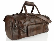 Woodland Leather Stitch Men's Holdall Travel Shoulder Bag Weekend Gym Sports Brown