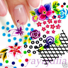 11 Sets Flower Nail Art Decal Water Slide Transfer Temporary Tattoo Stickers W43