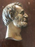 Antique Abraham Lincoln USA president Bronze Plaque