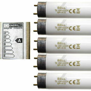 "5x 18 watt 2 foot 24"" 600mm T8 fluorescent tube cool white 840 light BELL 18W"