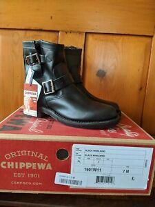 "Sz 7 BLACK Chippewa Leather SHORT Raynard WOMENS Moto WOMENS Boots 7"" NIB $320"