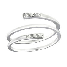 Triple Band CZ Sterling Silver Ring