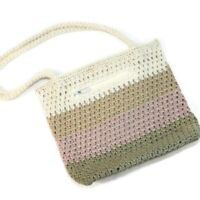 THE SAK Multi Color Tans Ivory Pink Shoulder Bag Purse Crocheted