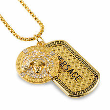 Versace Medusa Head Plaqué or Chaîne Collier Bling Dog Tag Brit